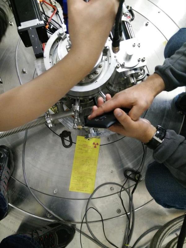 Neutron beam will go through the sample under the floor